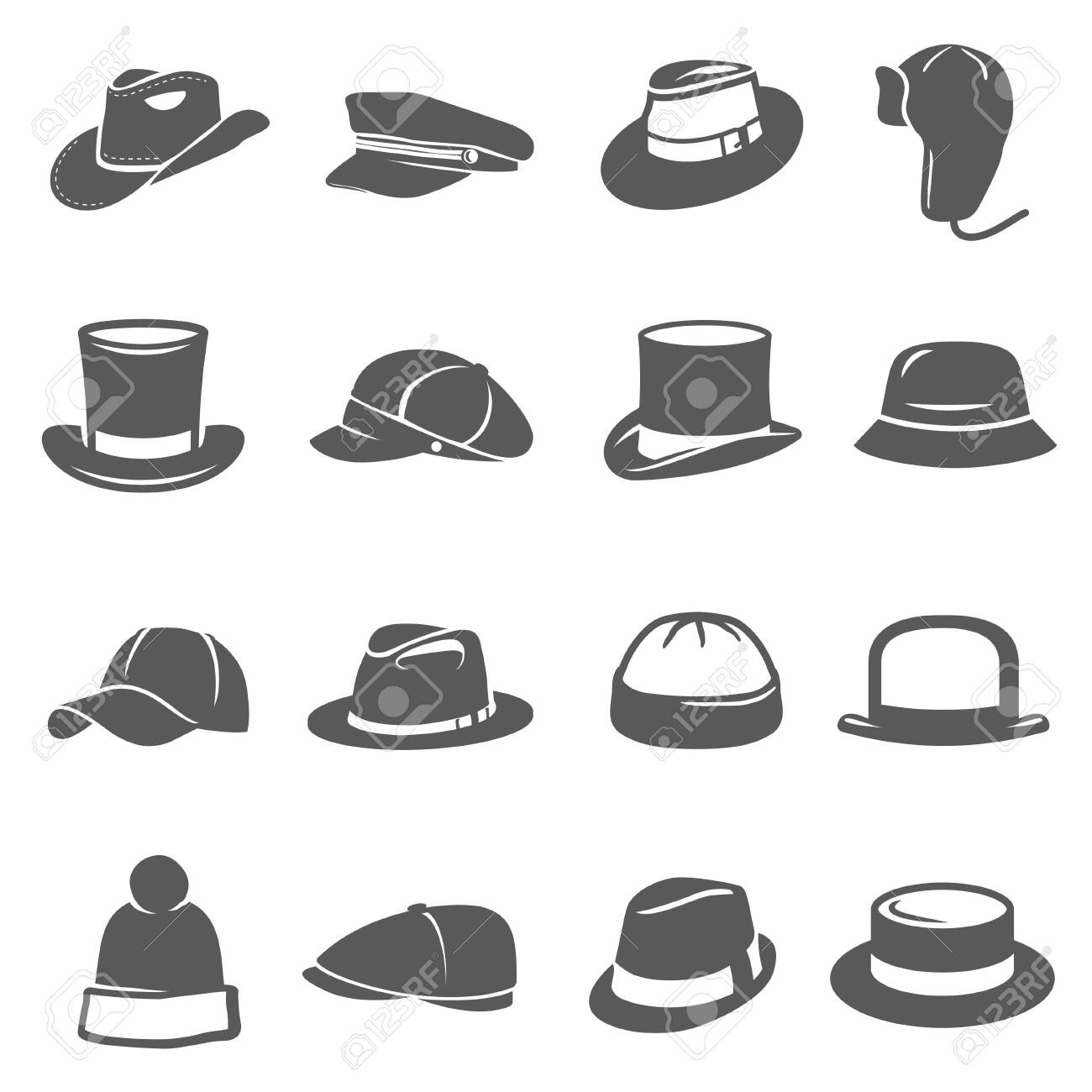 Hat icon set, traditional head wear accessory - 148951328