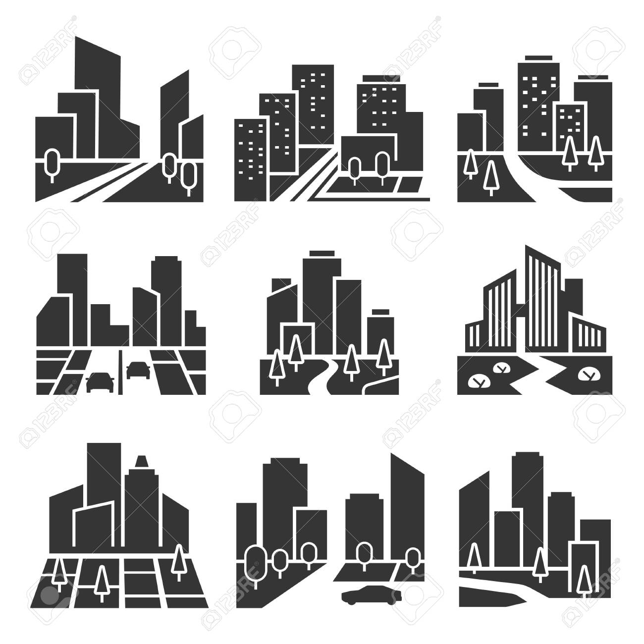 Residential area, housing estate silhouette icons set isolated on white. Cityscape, town. - 152764857