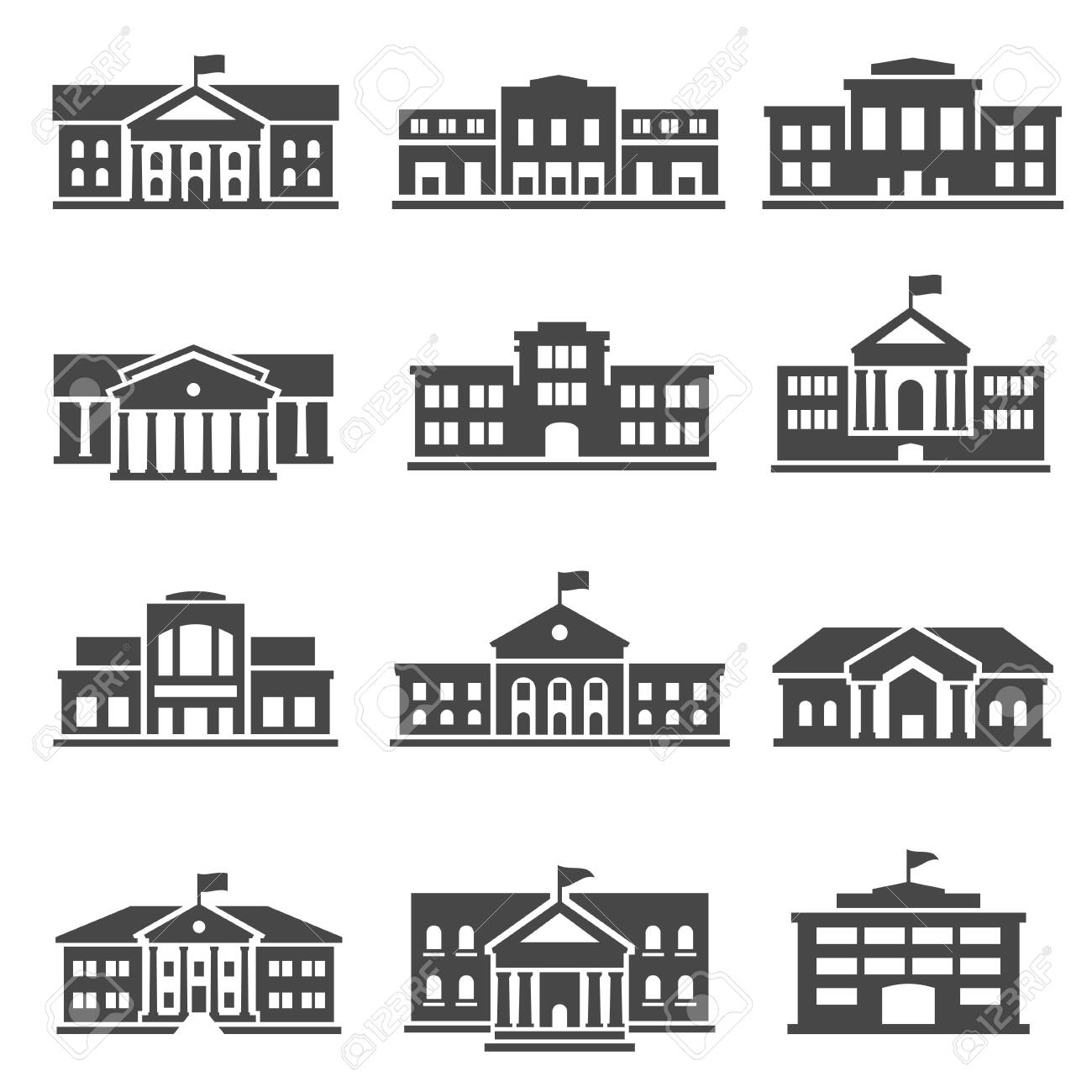 School, university bold black silhouette icons set isolated on white. College buildings. - 154449431
