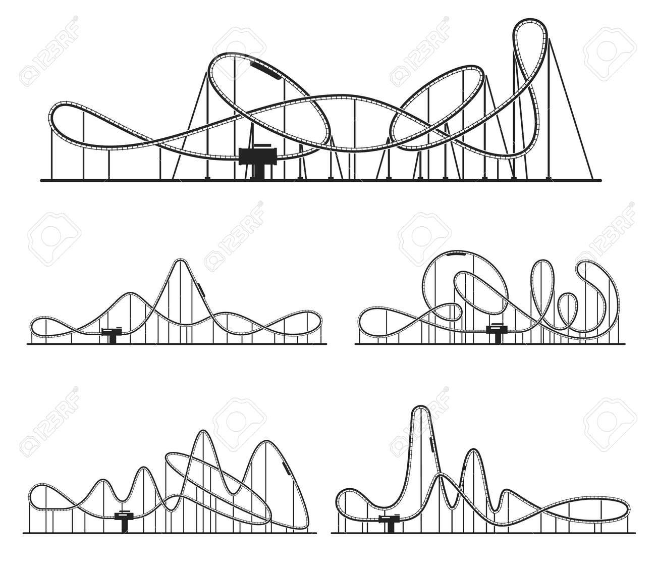 Roller coaster various route set. Amusement rides collection. Railroad tracks with tight turns. - 159566986