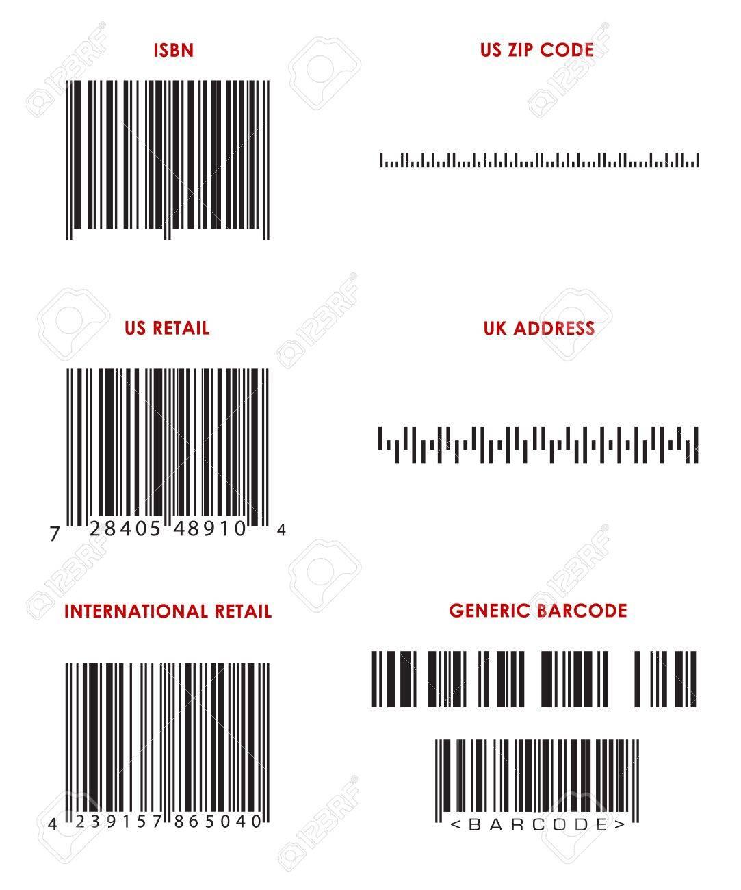 Bar codes of various formats (UPC, EAN, ISBN, Zip Code, UK address