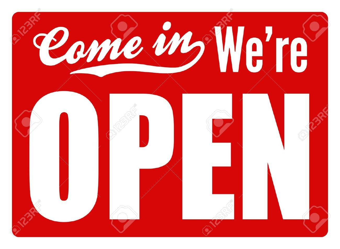 Typical  open  sign for a shop, cafe or company to let customers know they are open for business  Perfect as part of a design or shop Stock Photo - 21325402