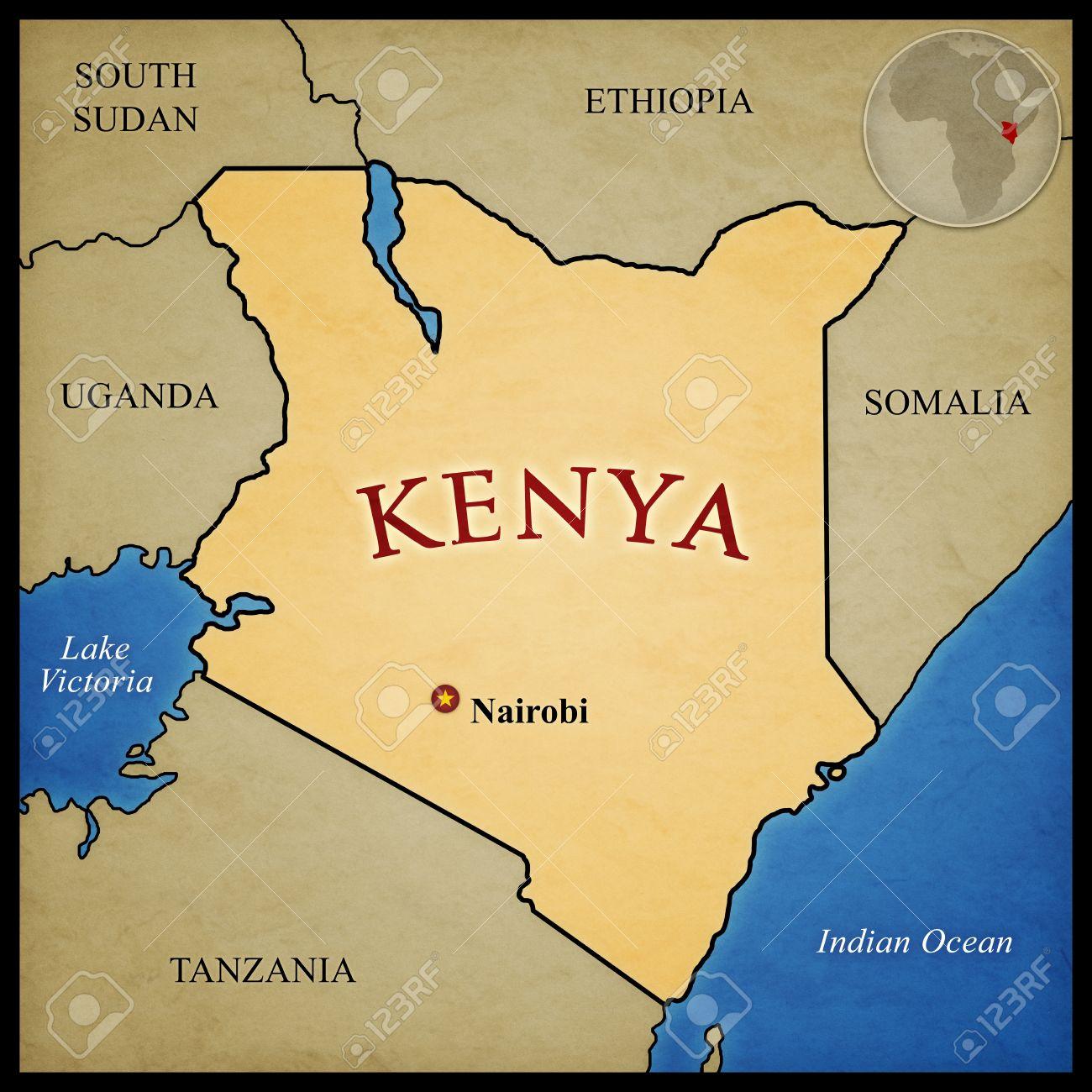 Kenia Karte.Stock Photo