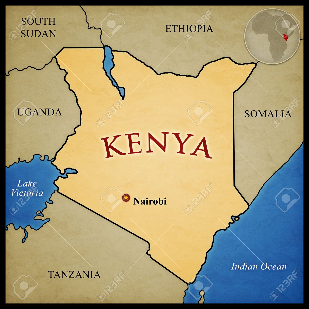 Kenya map and bordering countries with capital Nairobi marked...