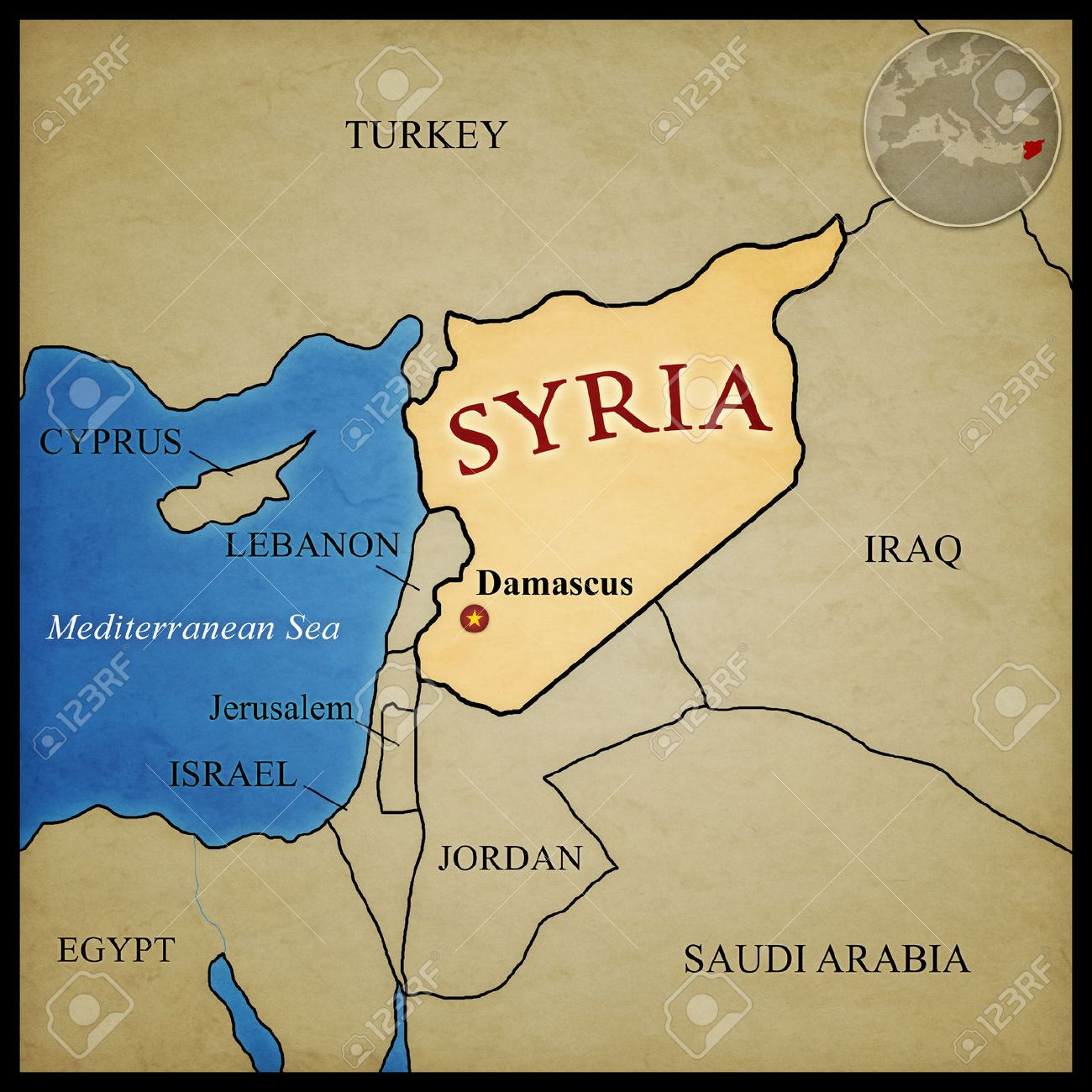 Syria map and bordering countries with capital Damascus marked...