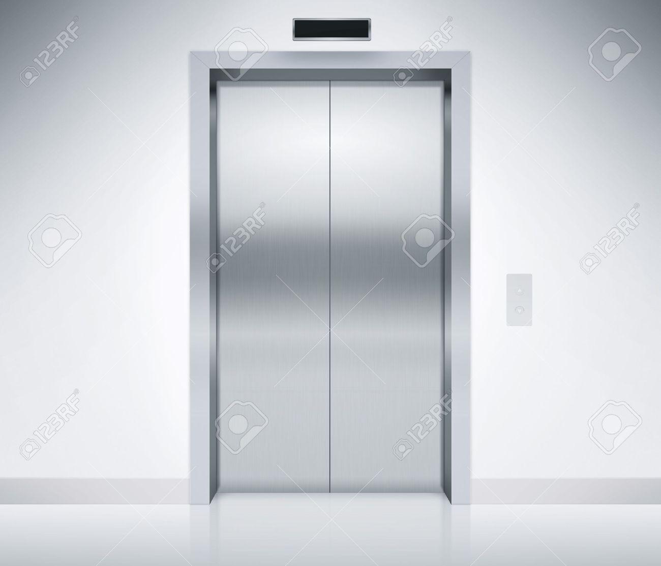 Modern elevator or lift doors made of metal closed in building with lighting. & Push Door Stock Photos. Royalty Free Push Door Images