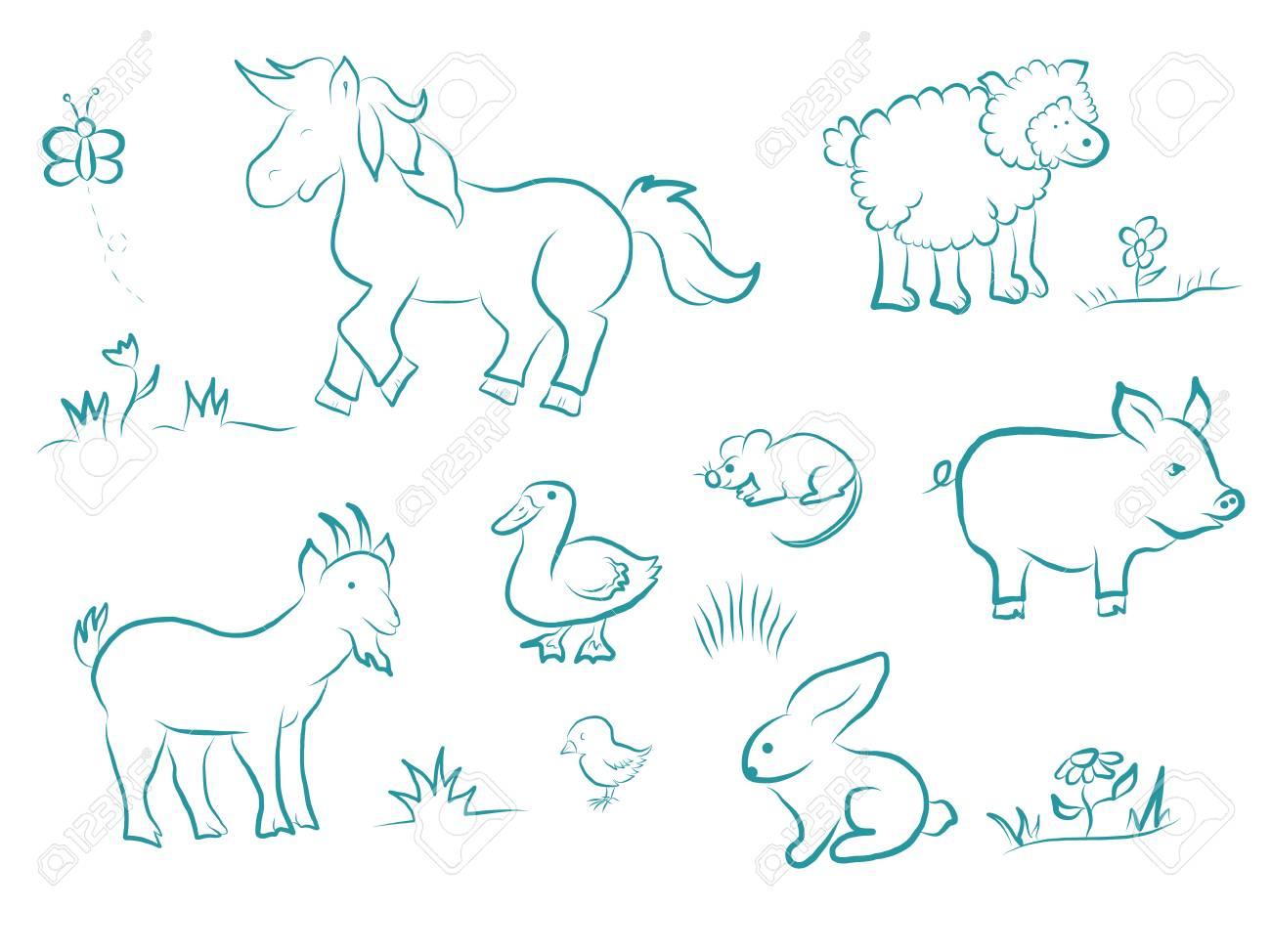 Funny Cartoon Set Of Farm Animals Cute Horse Sheep Pig Goat Royalty Free Cliparts Vectors And Stock Illustration Image 116789795