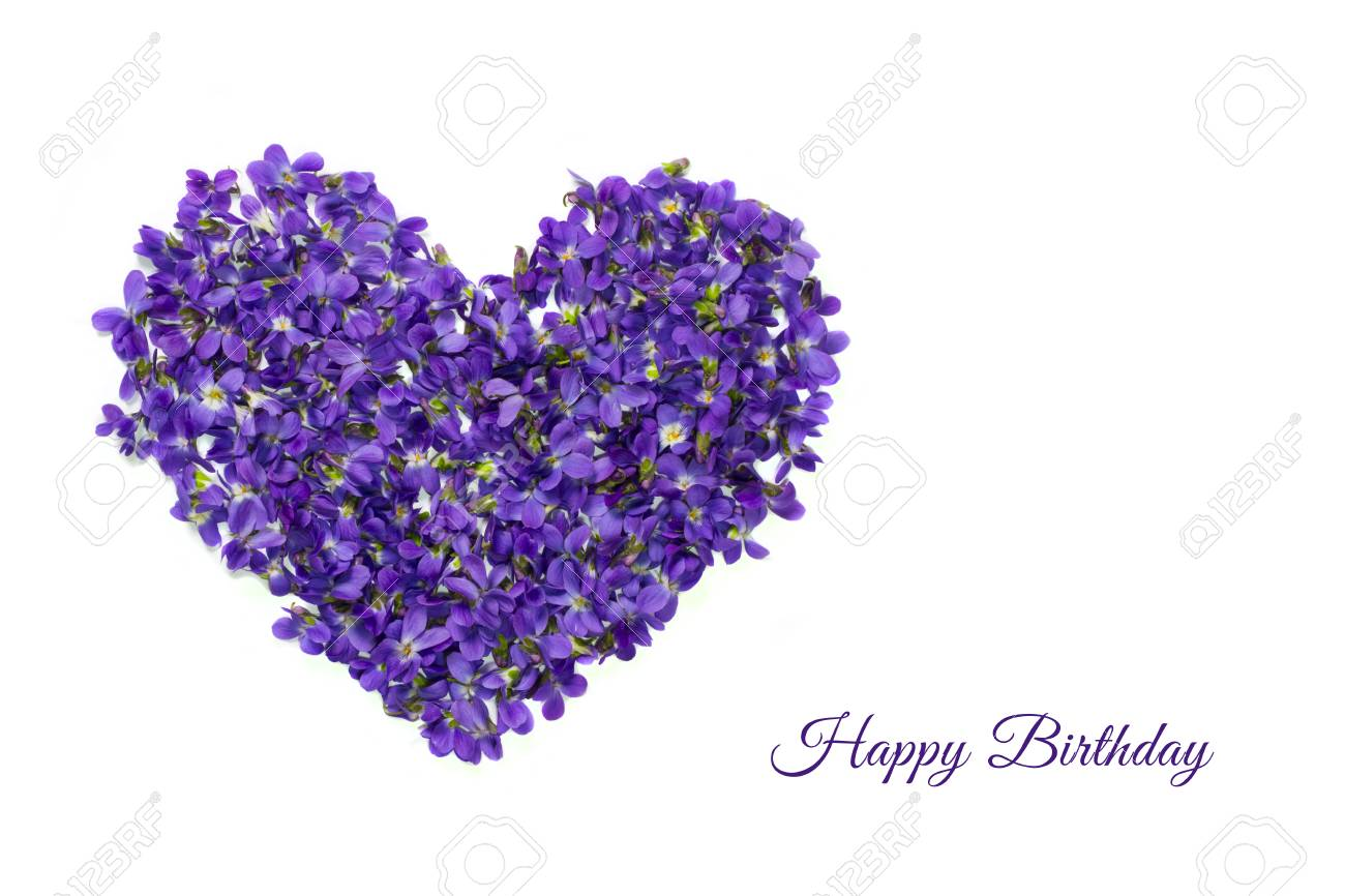 Happy Birthday Card Heart Shape Flowers Violets Love Symbol