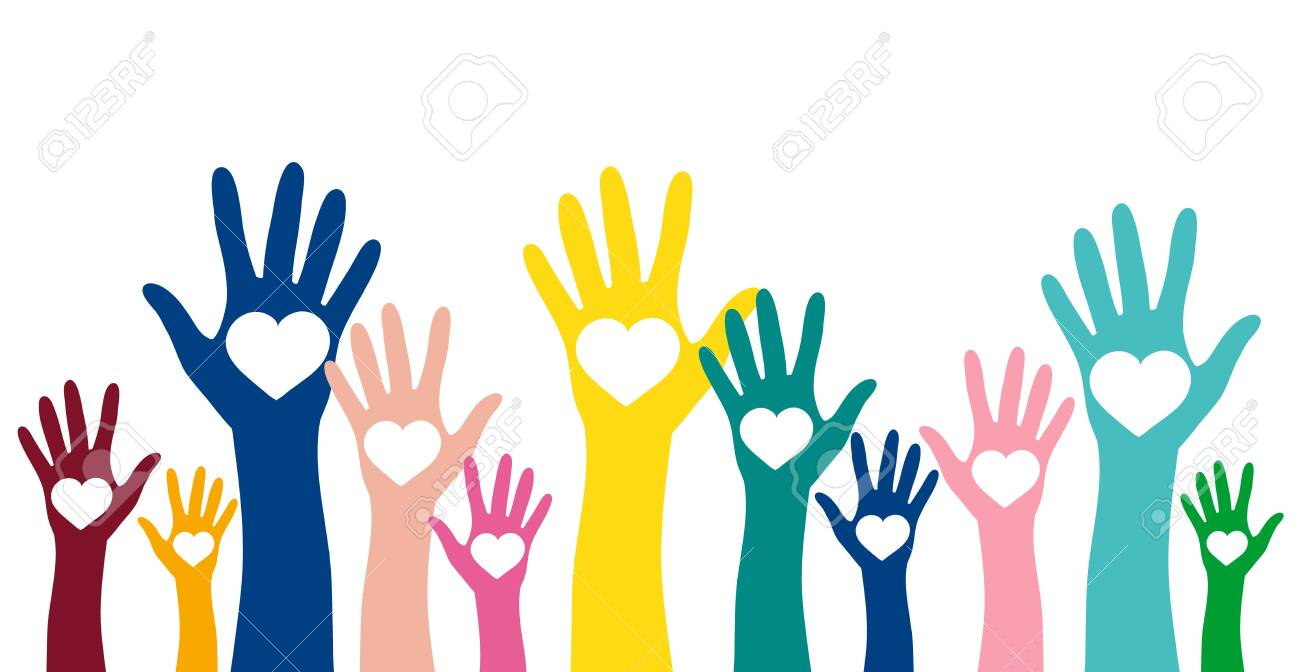 Volunteering, charity and donating concept. Raised colorful hands with white heart vector design element - 148817909
