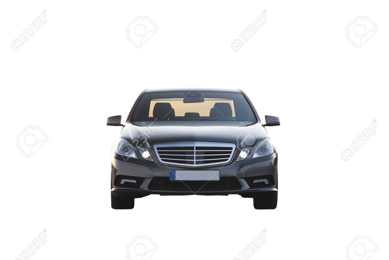 Luxury Car Isolated Over White Background Frontal View No Trademarks