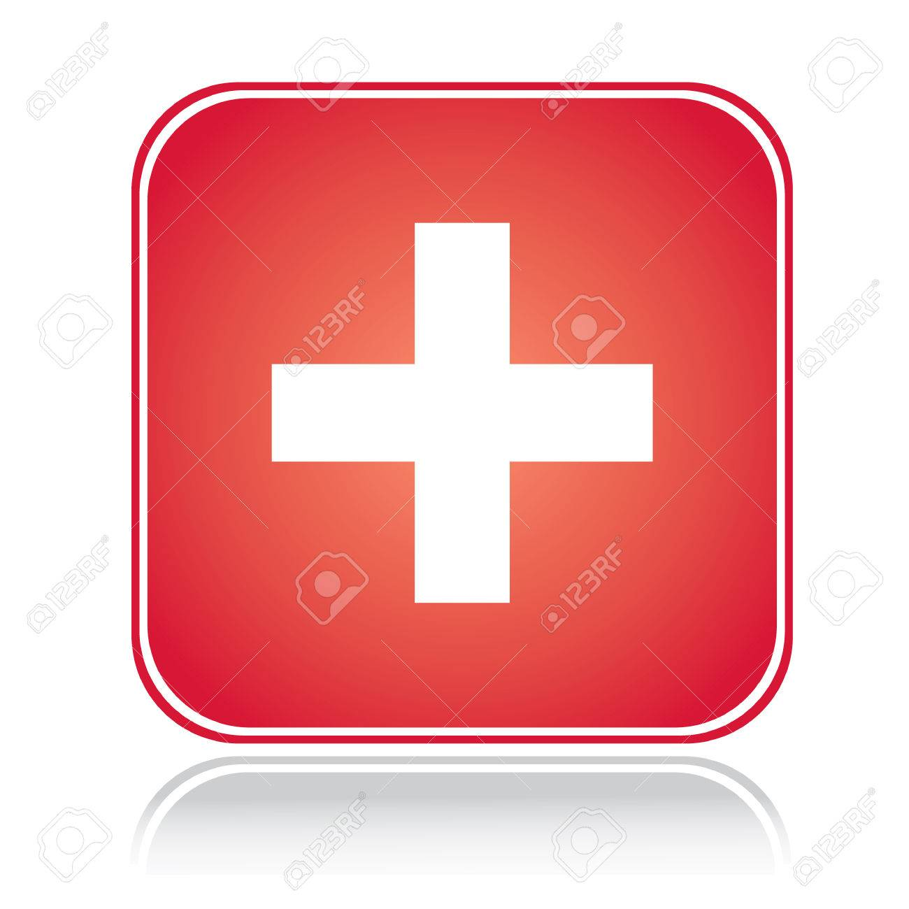 Red square sign swiss cross over white Stock Vector - 6488466