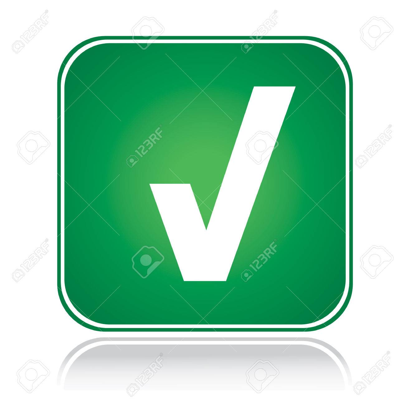 Green square sign approve action tick over white Stock Vector - 6488475