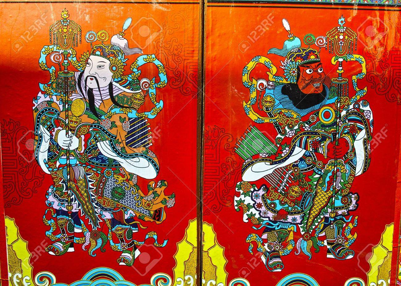 Chinese Door God In order to pray for a good fortunelong lifehealth & Chinese Door God In Order To Pray For A Good Fortunelong Life ...