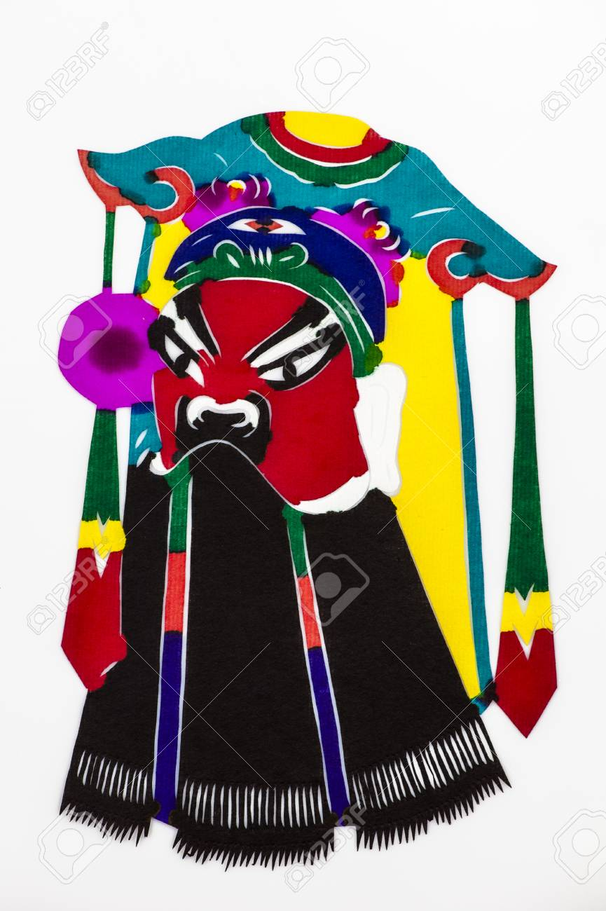 Chinese papercut series of facial makeup in Peking Opera on the white background Stock Photo -