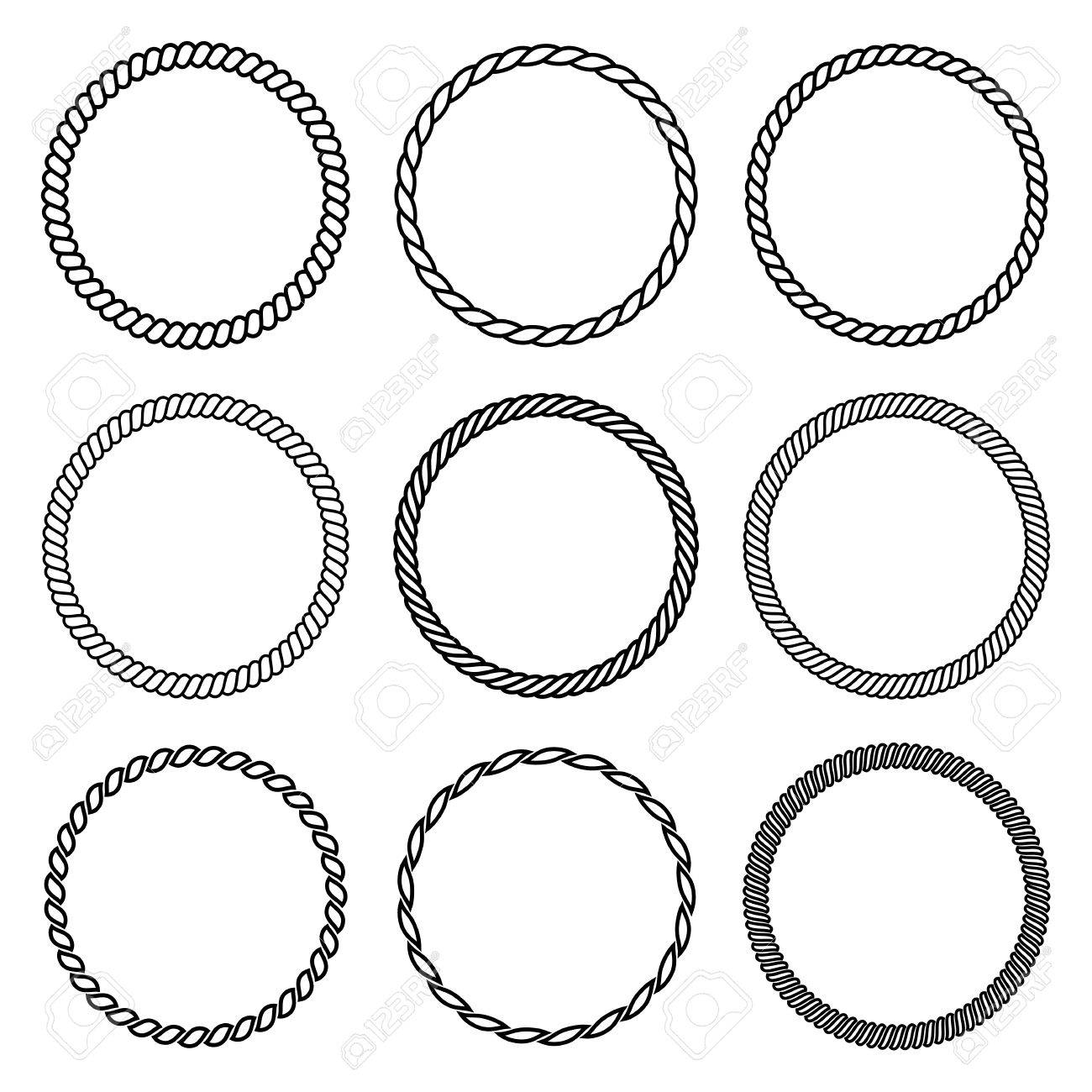 2c8b97d5c3 Vector - Vector set of round rope frame. Collection of thick and thin  circles isolated on the white background consisting of braided cord and  string.