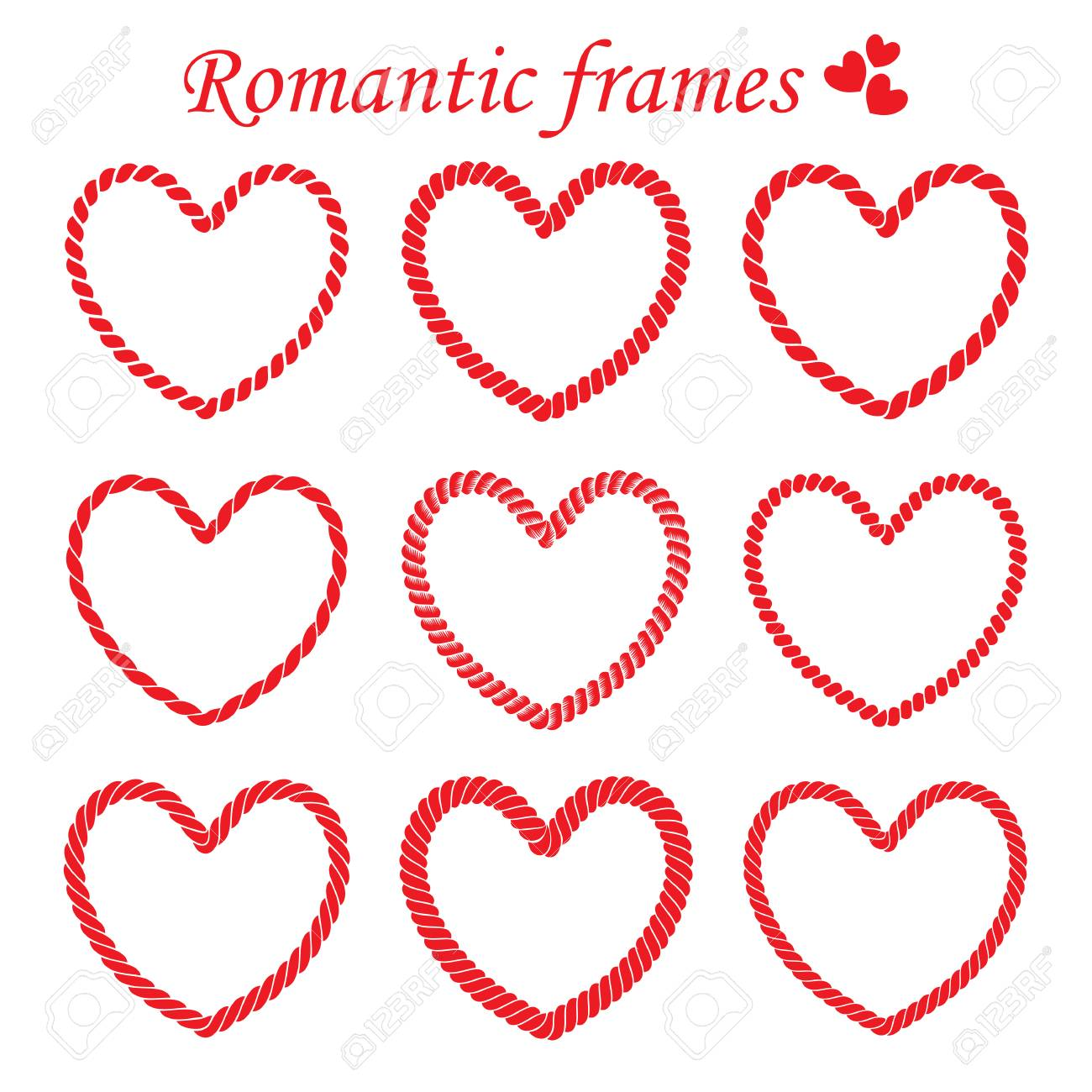Set Of Romantic Frames Of Twisted Rope Frames In Heart Shaped ...