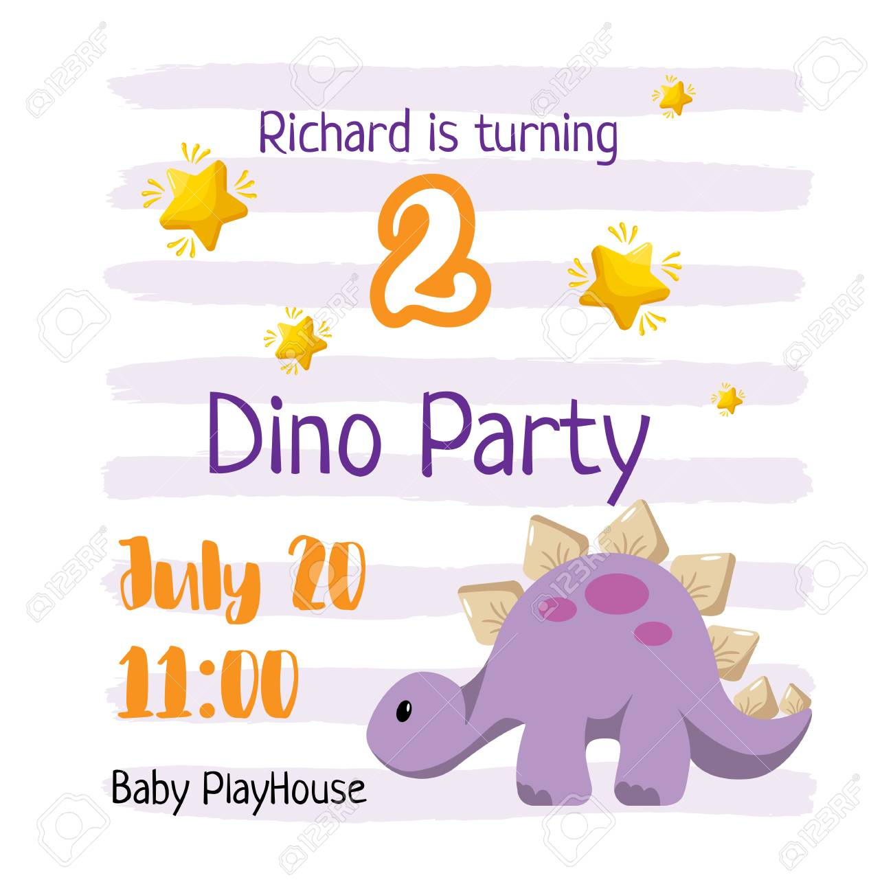 kid birthday invitation template design dino party for a baby
