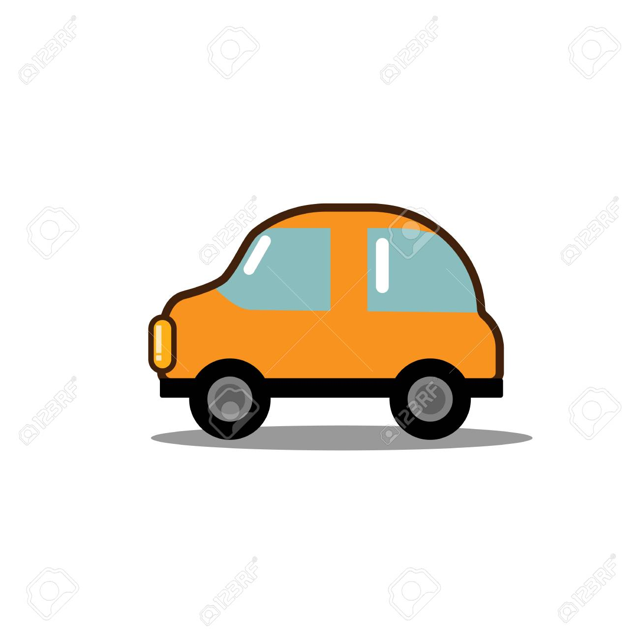Car Flat Icon Bright Cartoon Vehicle Concept For Poster Banner