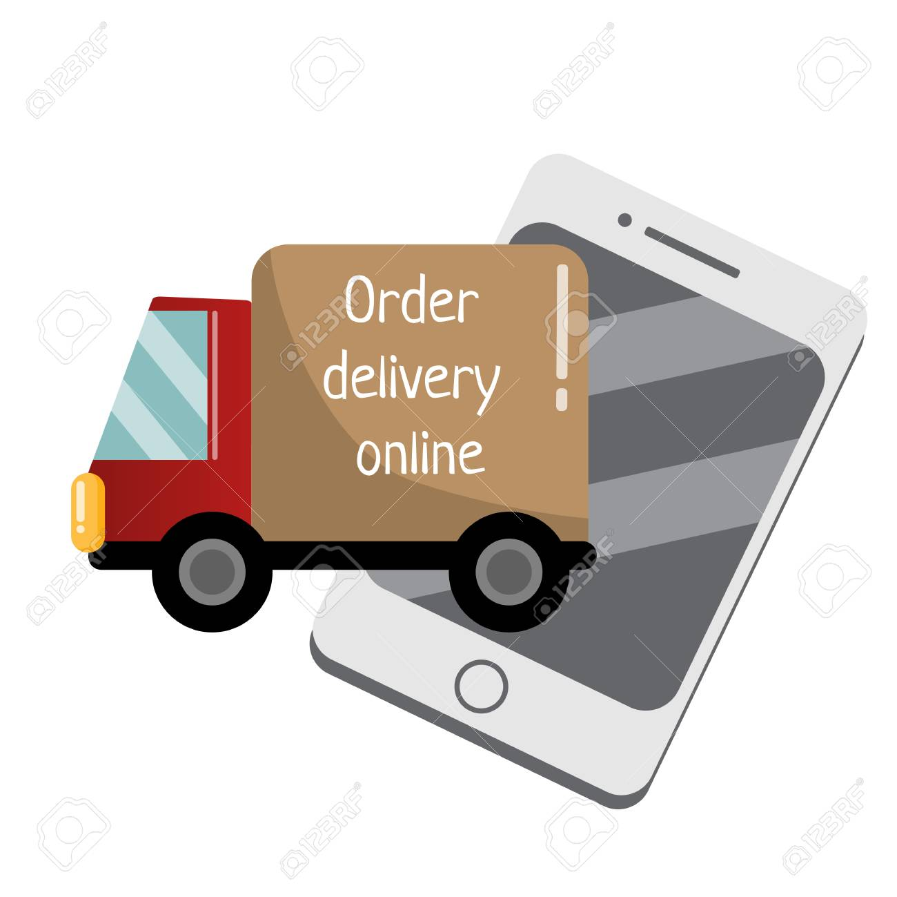Flat delivery service truck and mobile phone meaning online delivery