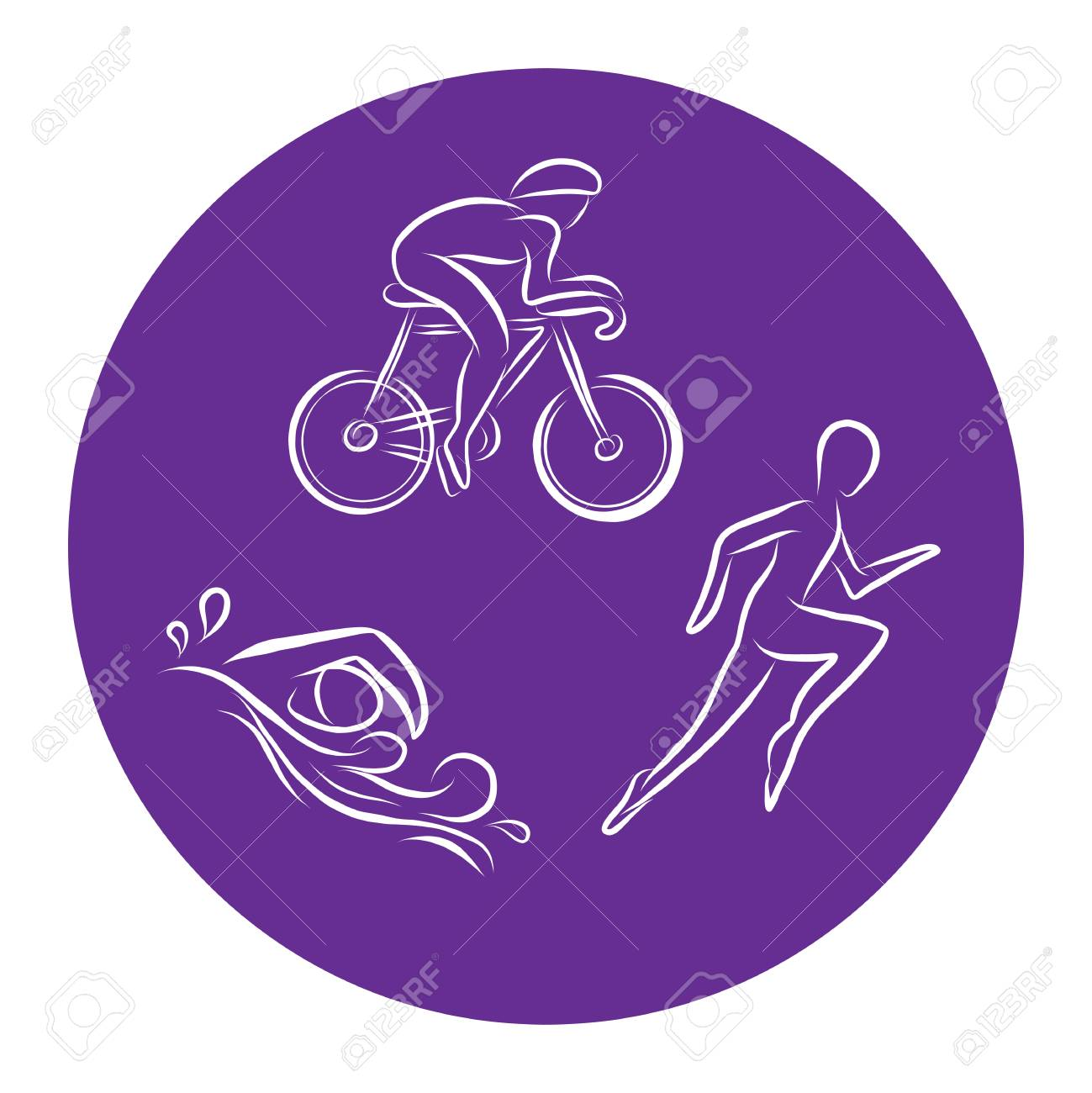 Triathlon hand drawn outline icons set for sport event or marathon or competition or triathlon team or club materials, check list, invitation, poster, banner, logo. Swim, bike, run icons and lettering - 112142400