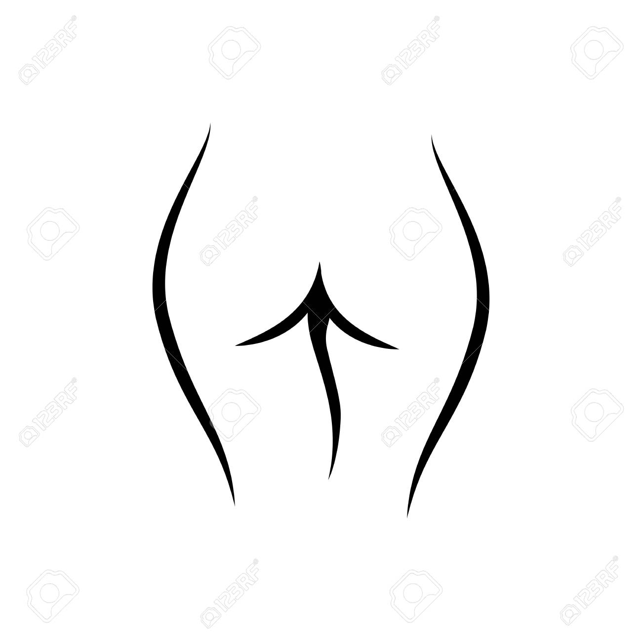 Line art female logo, woman body silhouette, sketch of cute body. Fashion illustration for poster, banner, logo, icon, printing of undewear shop, intimate goods for adult, sport industry. - 109097765