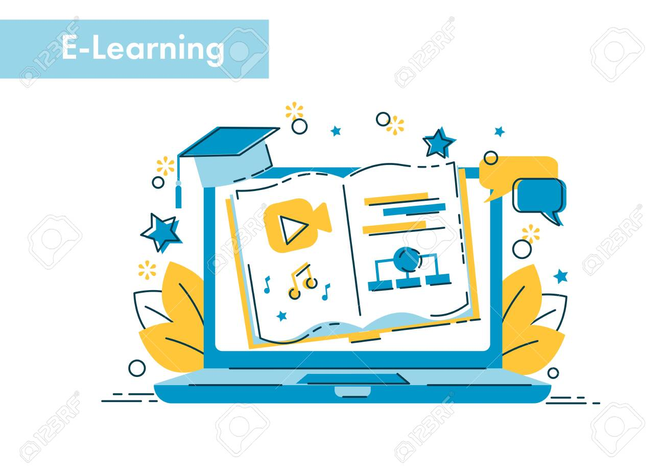 E Learning Concept Online Education Illustration For Webinar Royalty Free Cliparts Vectors And Stock Illustration Image 122847554