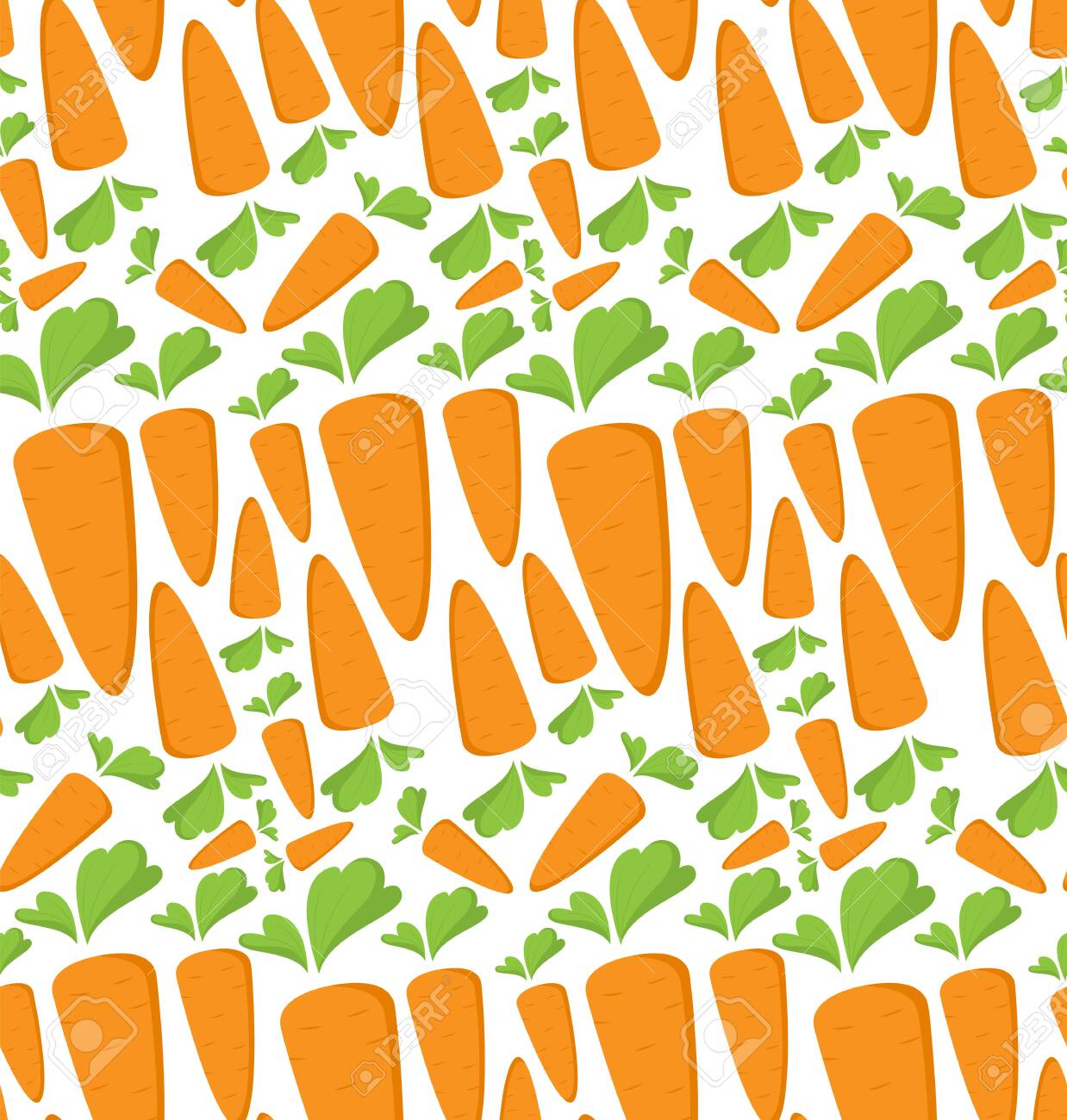 Carrot Seamless Pattern With Flat Orange Vegetable Cartoon Food Royalty Free Cliparts Vectors And Stock Illustration Image