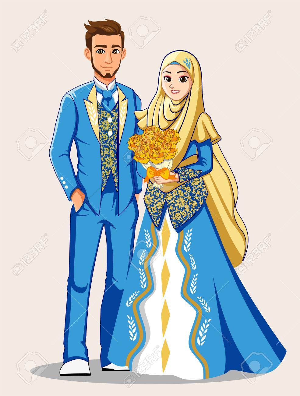 Sky Blue Muslim Wedding Dress - 92597176