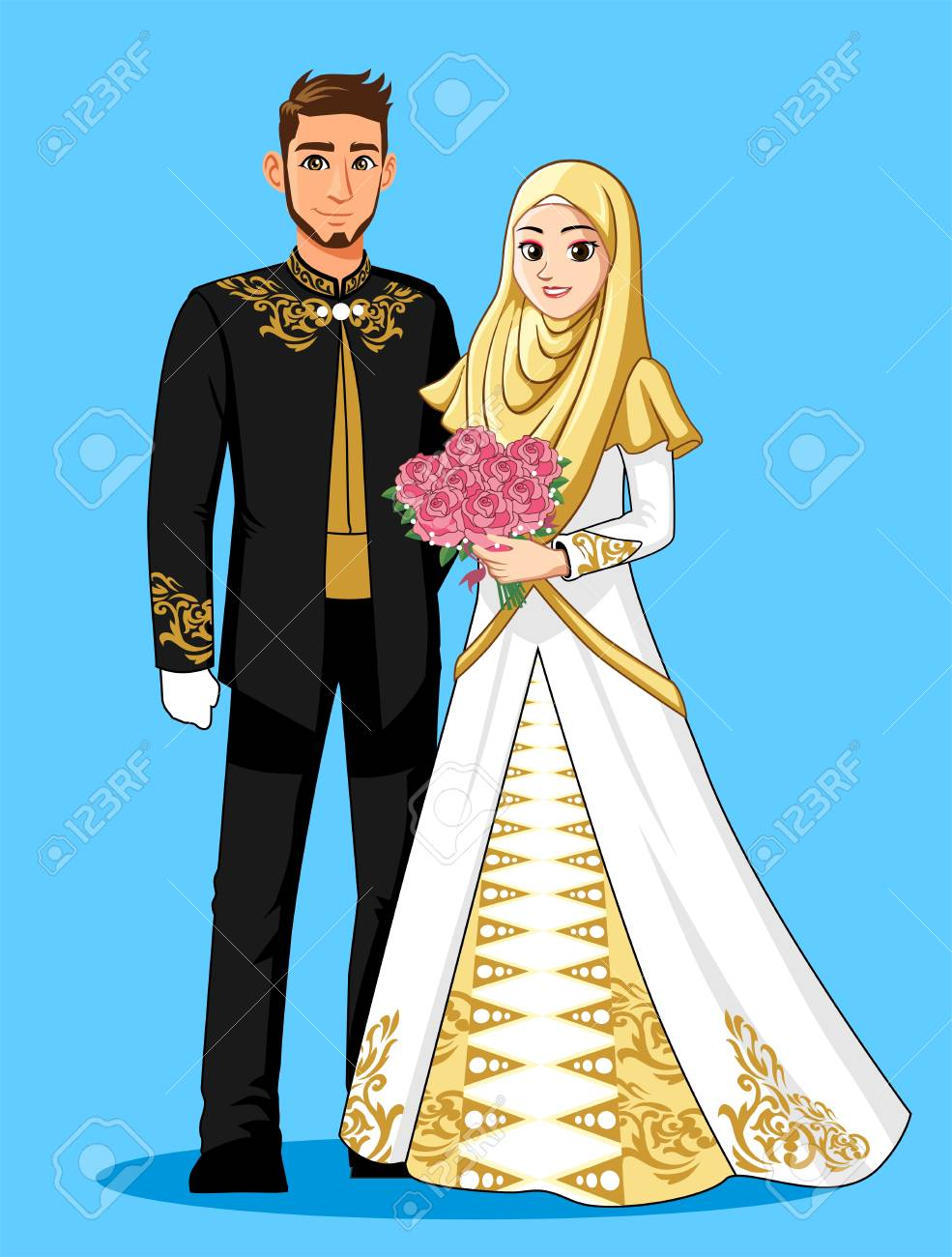 Gold Black Muslim Wedding Dress Royalty Free Cliparts, Vectors, And ...