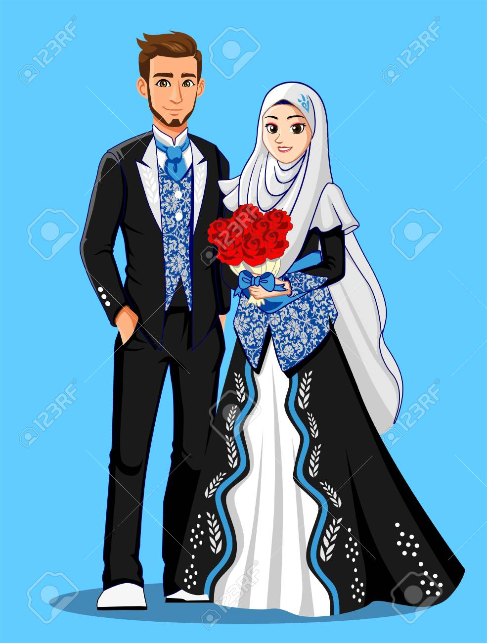 Blue Black Muslim Wedding Dress Stock Photo, Picture And Royalty ...