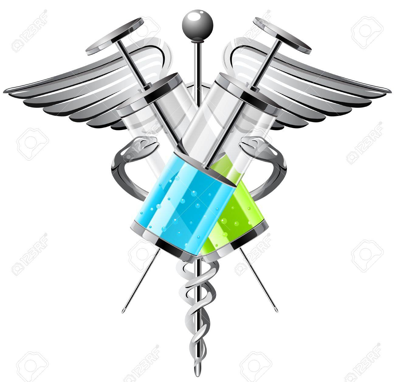 Medical Symbol With Syringes Wings And Snakes Royalty Free
