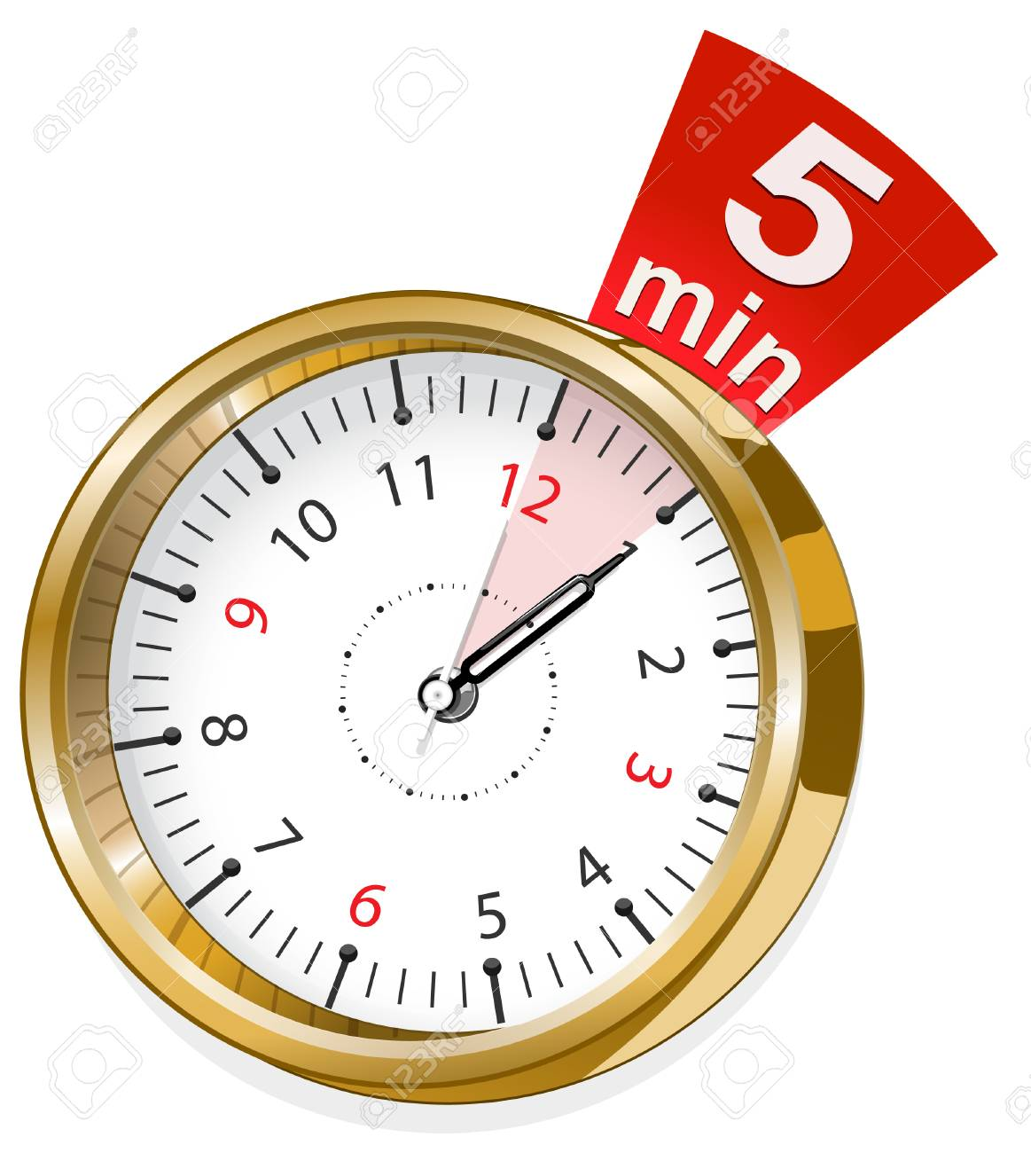 timer showing 5 min stock vector 28221789