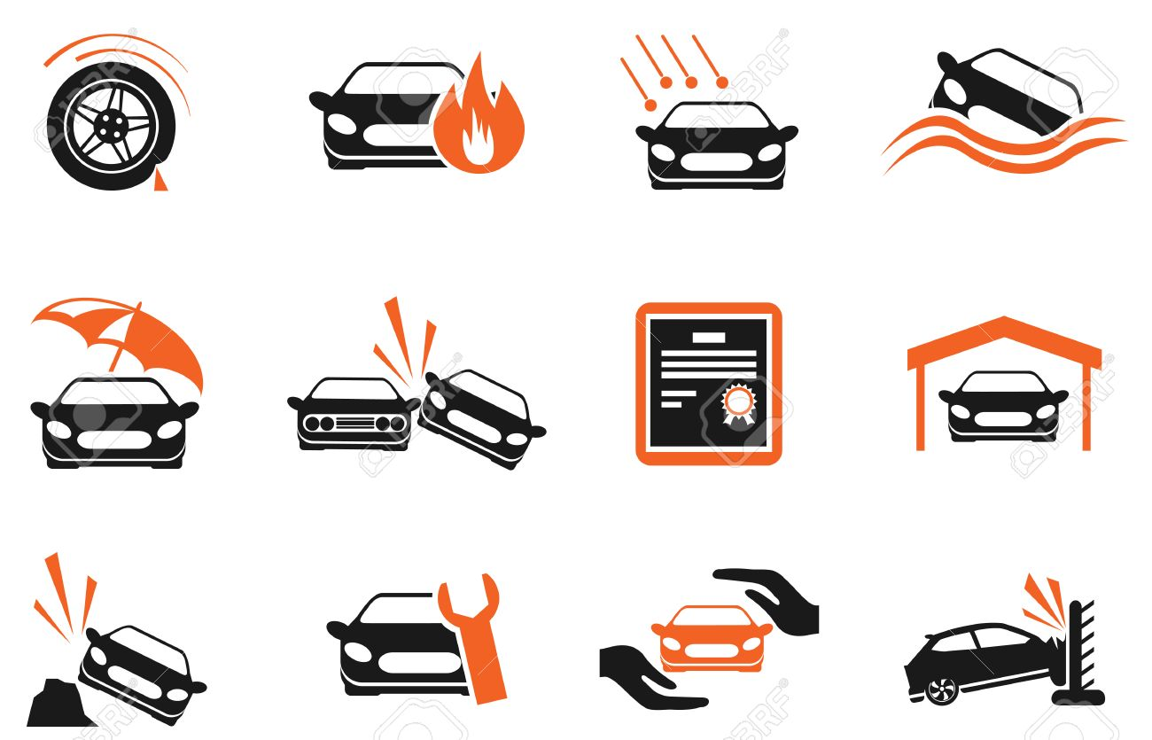 car insurance icons stock vector 29202215