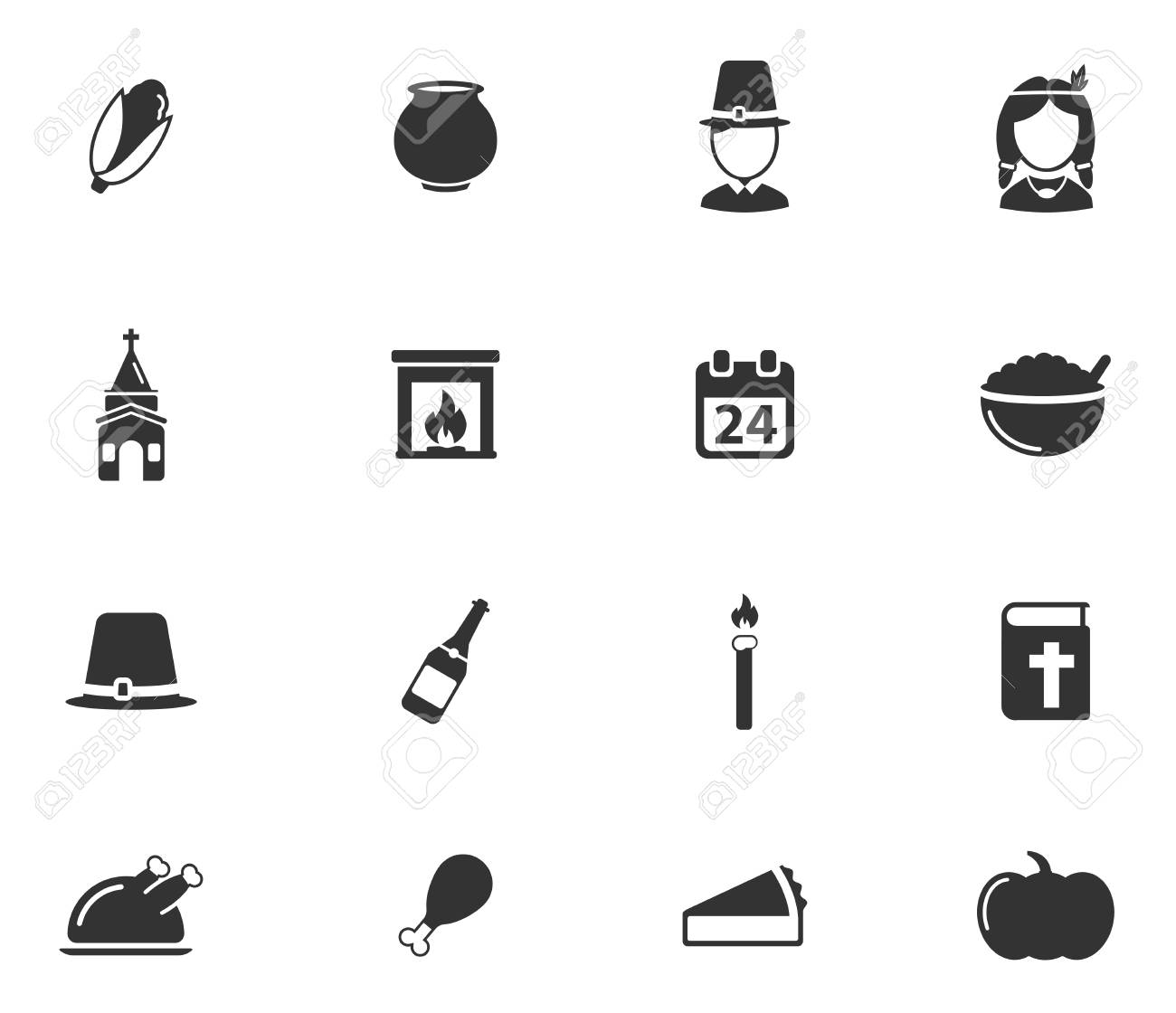 Thanksgiving Simply Symbols For Web Icons Royalty Free Cliparts