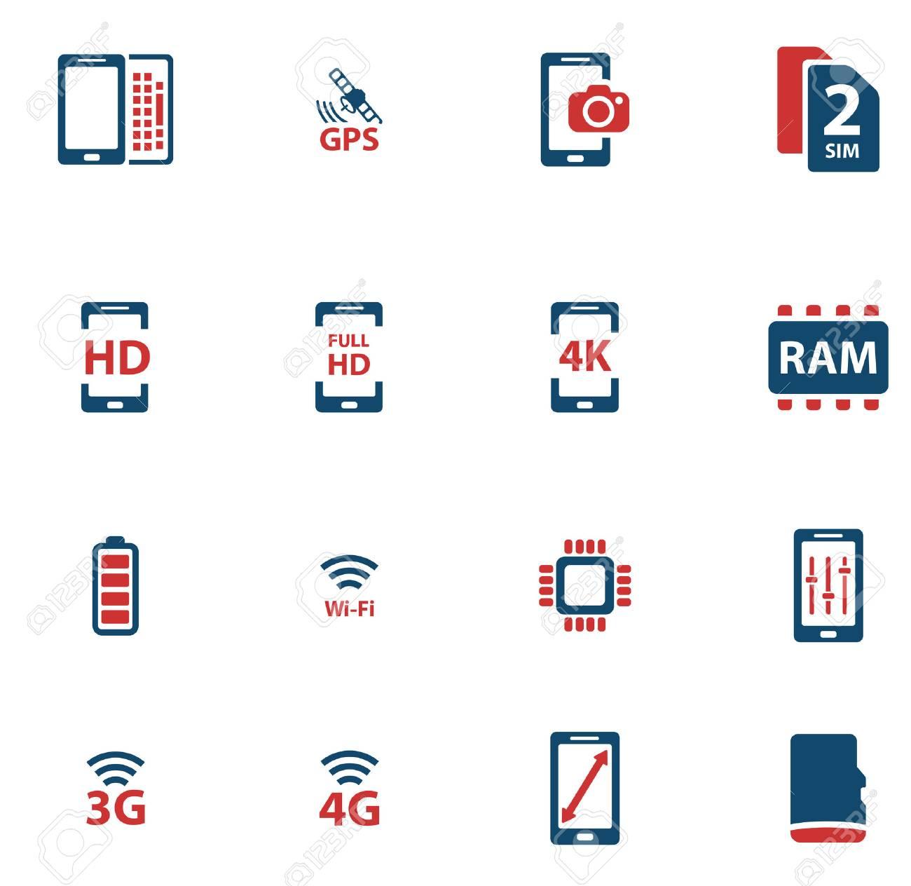 Smarthone Spezifikationen Einfache Symbole Für Web Lizenzfrei ...