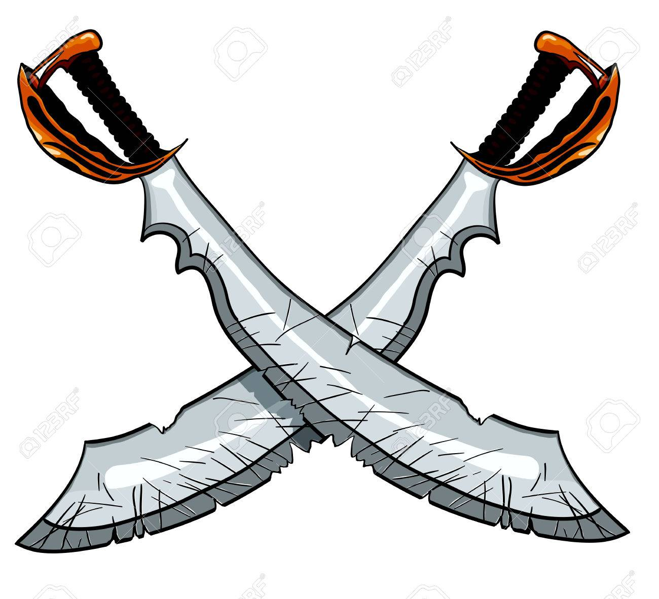crossed cutlass pirate sword vector illustration for tattoo or