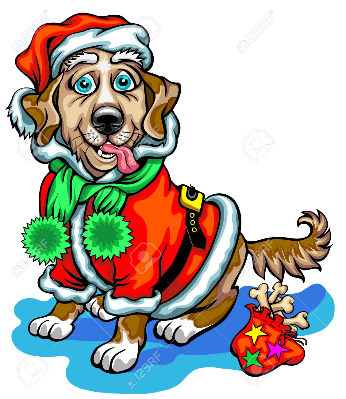 Dog With Christmas Gifts In The Image Of Santa Claus. Christmas ...