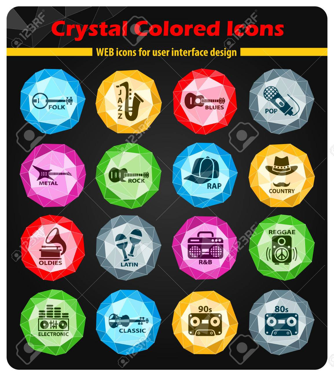 musical genre crystal color icons for your design