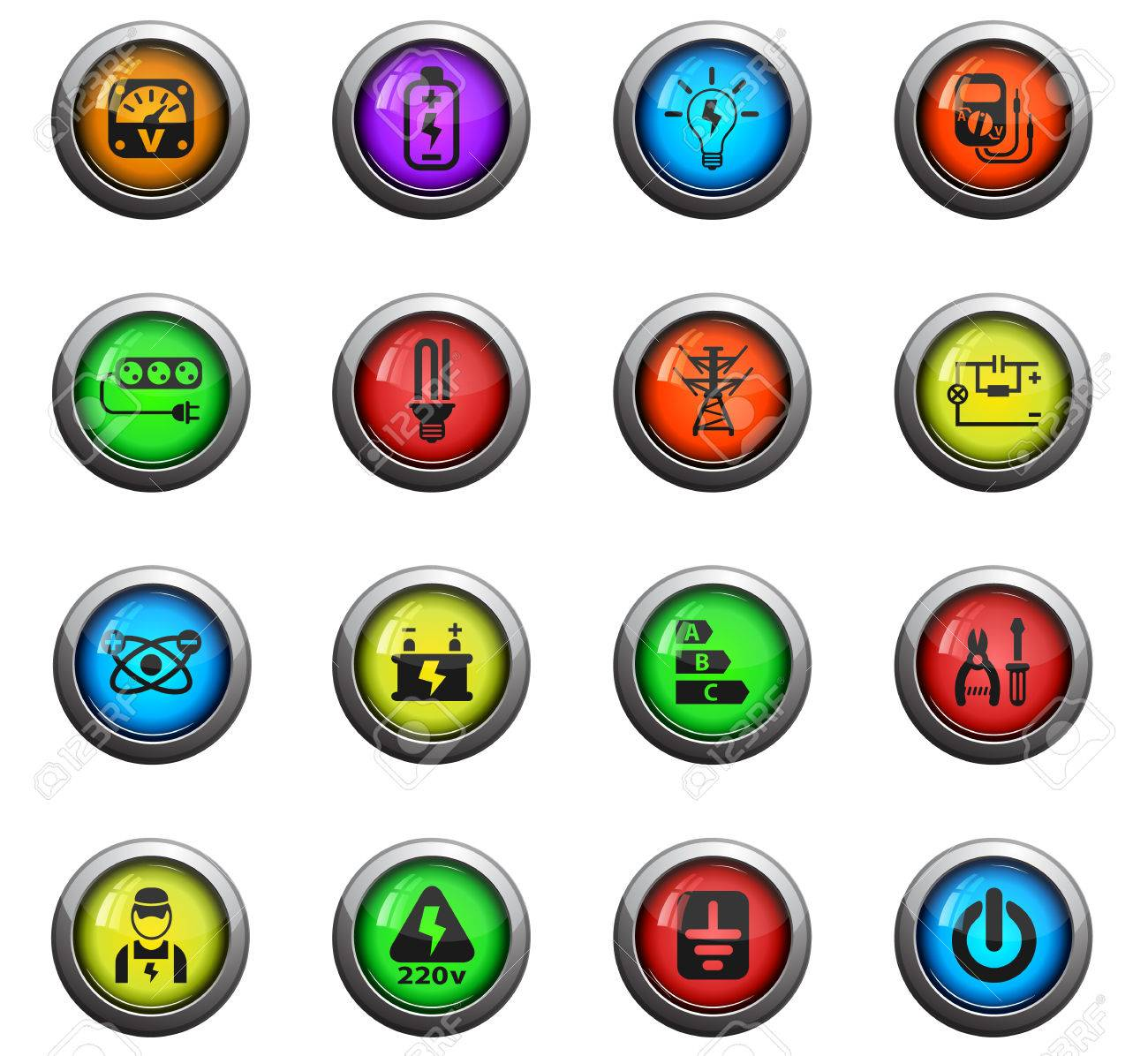 Electricity Icons On Colour Round Glass Buttons For Your Design ...