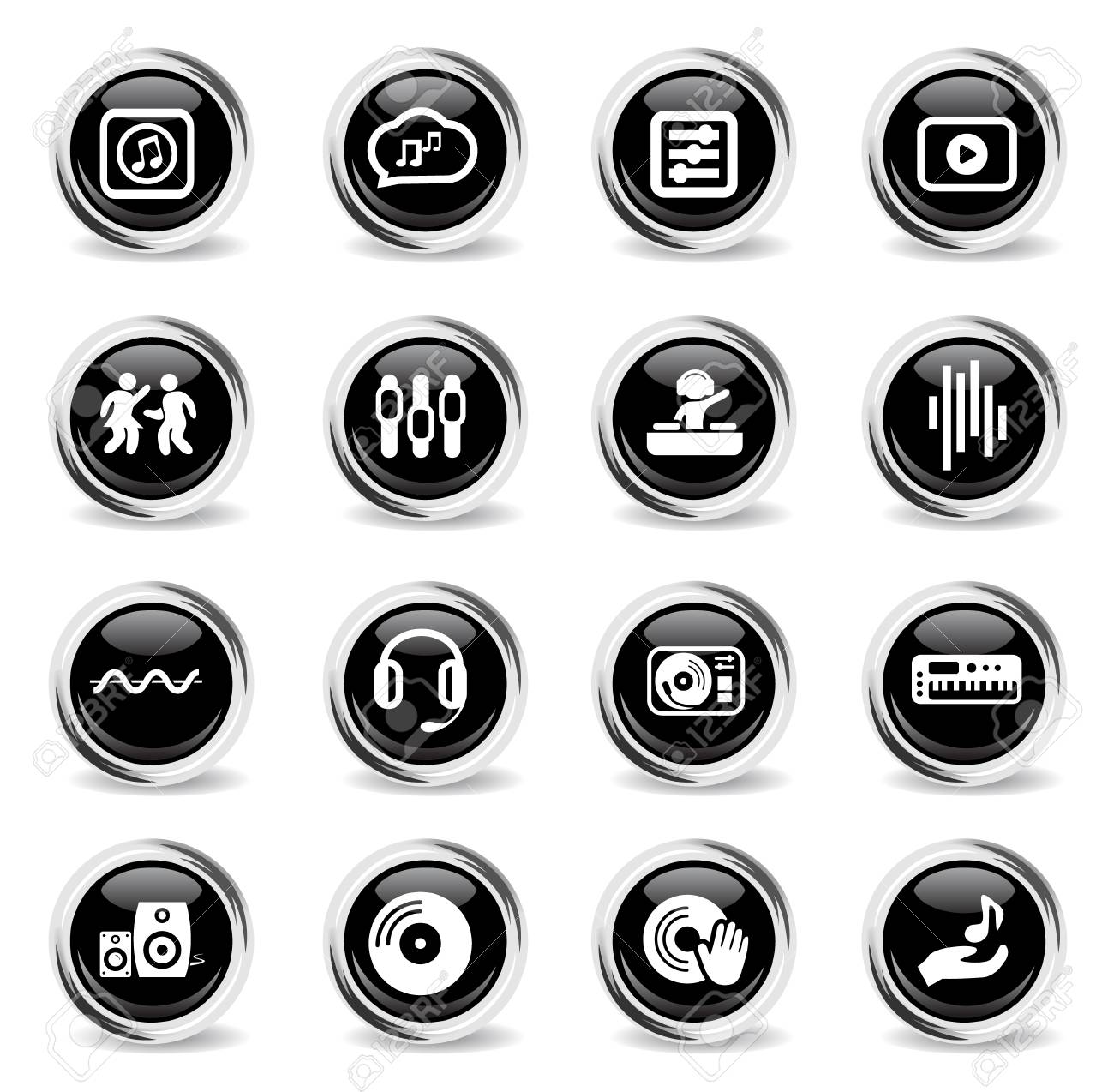 electro music web icons - black round chrome buttons