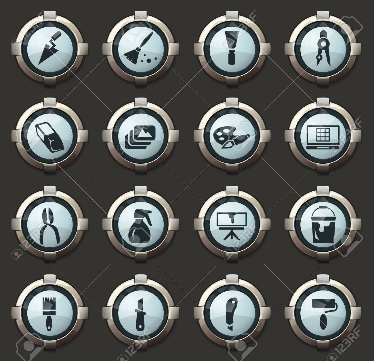 Art tools vector stylish round buttons for mobile applications and web - 126768287