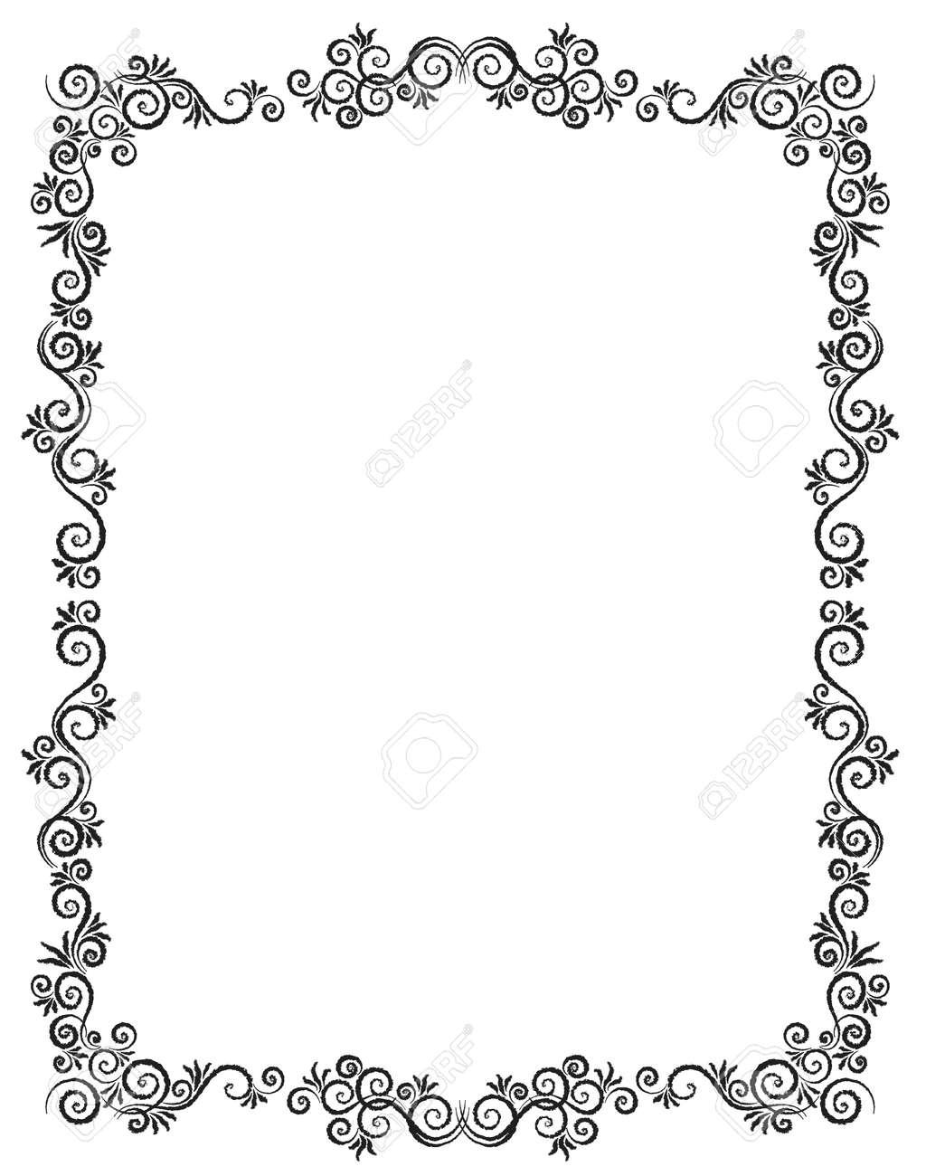 Vintage Ornament Greeting Card Vector Template. Charcoal drawing. Flourishes frame. Vintage Background, Vintage Frame, Vintage Ornament, Ornaments Vector, Ornamental Frame. - 121719702