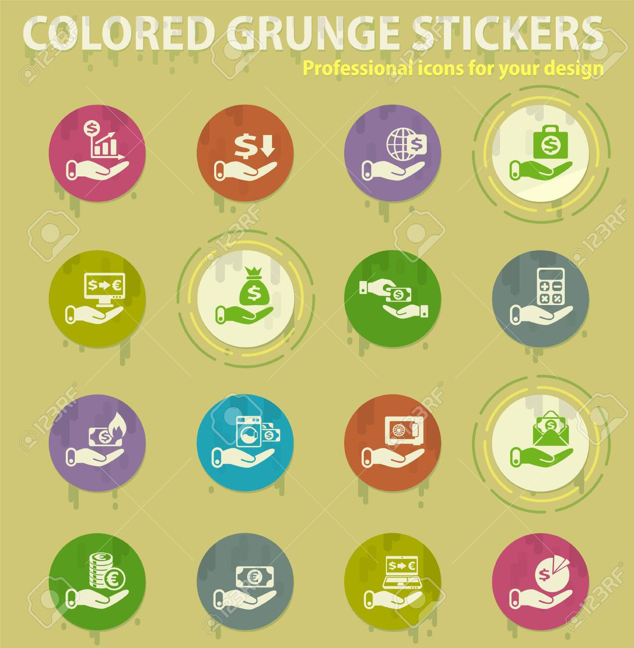 hand and money colored grunge icons with sweats glue for design web and mobile applications - 150816601