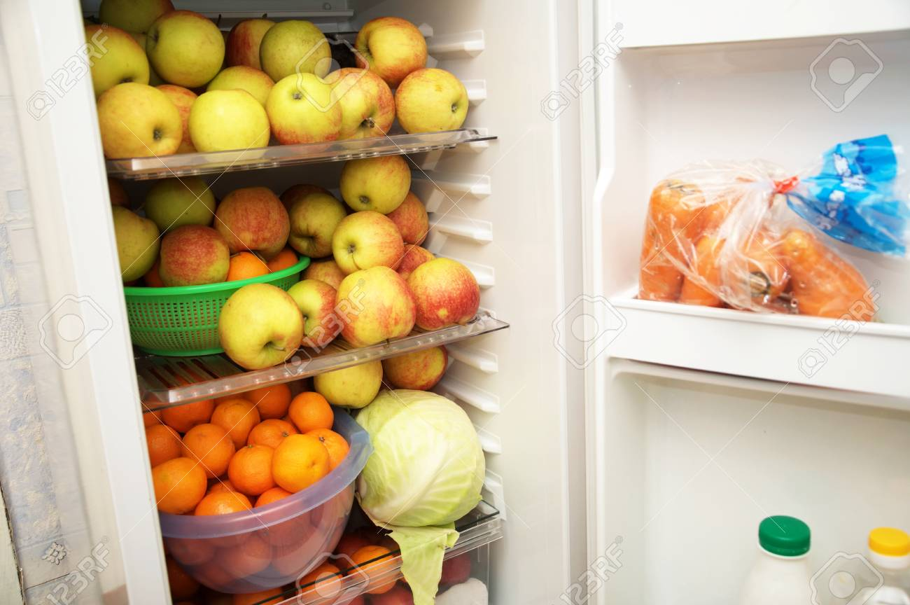 Raw Food Eater Fridge Consist Of Fruits And Vegetables Stock Photo