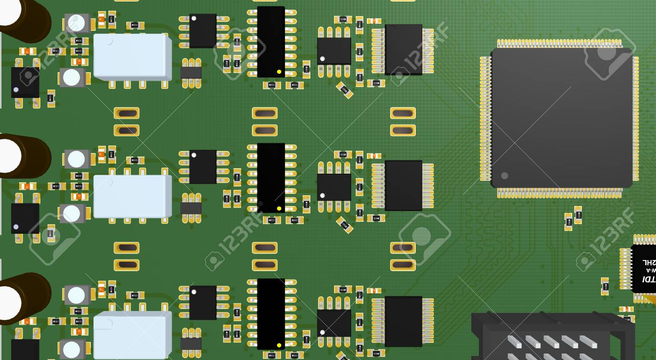 Printed Circuit Board With Resistors Capacitors Connectors Stock And Chip Photo 38745535