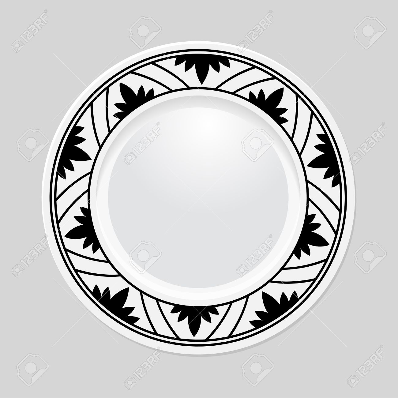Decorative Plate With Patterned Border On Gray Background Top Royalty Free Cliparts Vectors And Stock Illustration Image 36647356