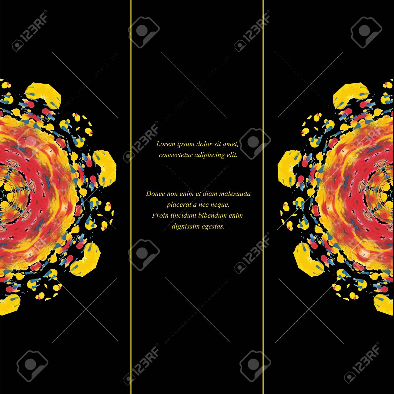 template of card or flyer with half colorful round ornament