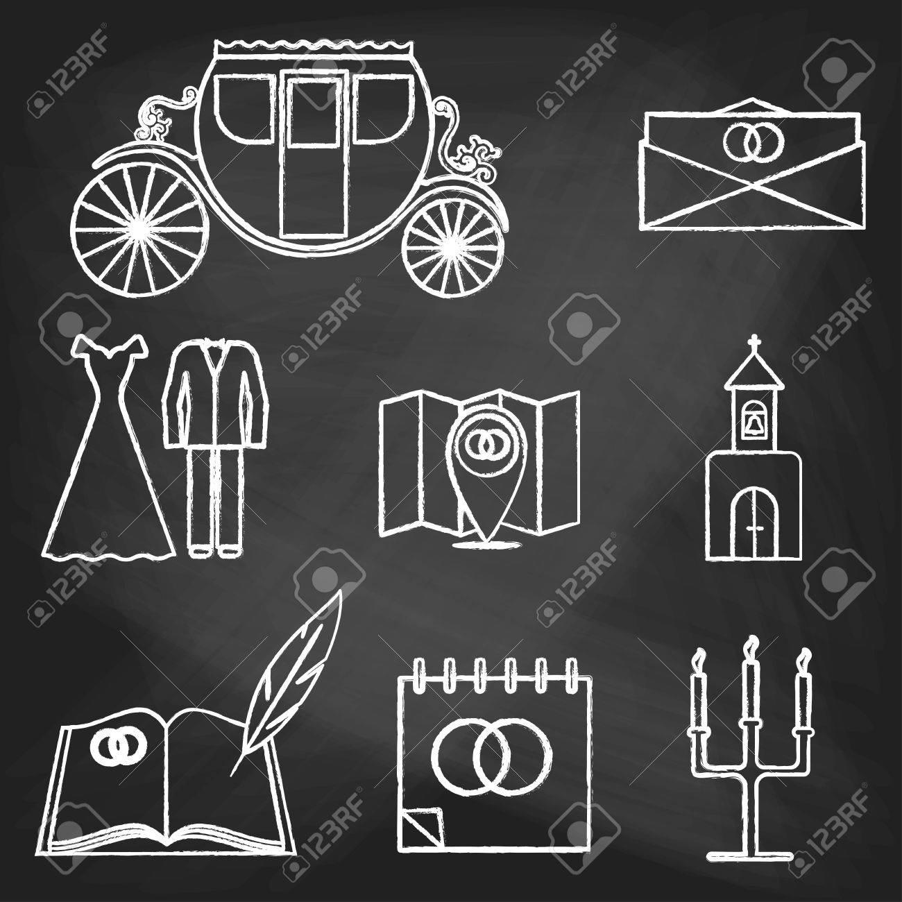 Set Hochzeit Symbole Gemalt Mit Weisser Kreide Auf Eine Tafel