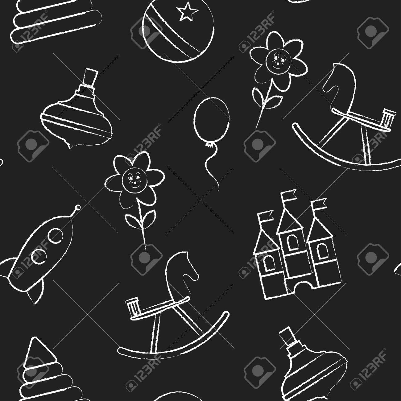 Seamless Pattern With White Childrens Chalk Drawings Jn Black Background Hand Drawn Style