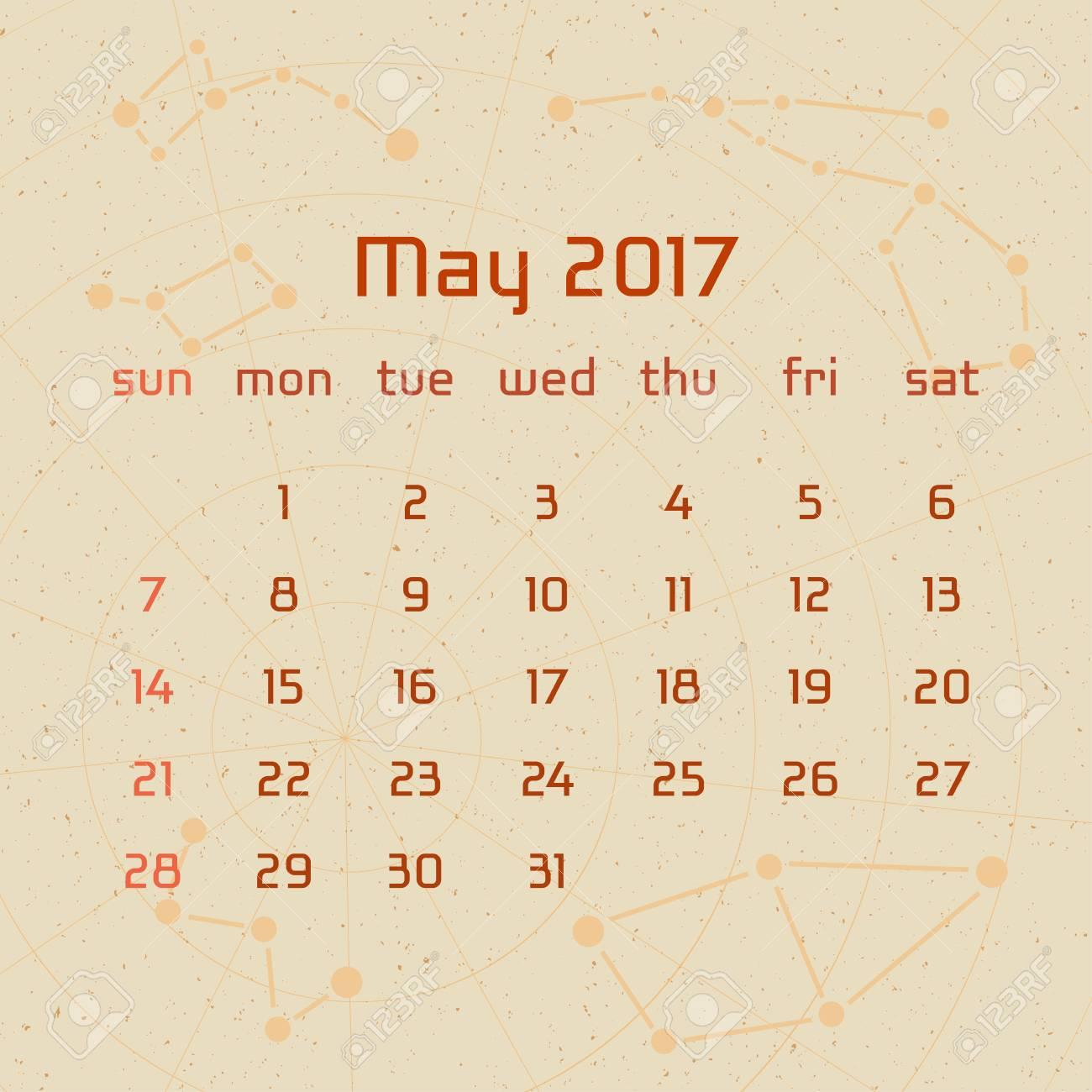 Calendar Ideas For May : Vector calendar for in the retro style calendar for the